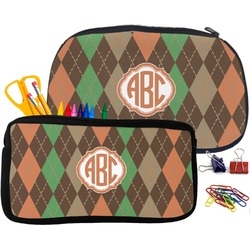 Brown Argyle Pencil / School Supplies Bag (Personalized)