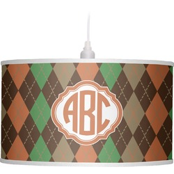 Brown Argyle Drum Pendant Lamp (Personalized)