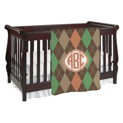 Brown Argyle Baby Blanket (Personalized)