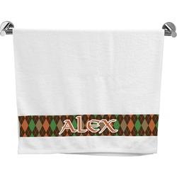 Brown Argyle Bath Towel (Personalized)