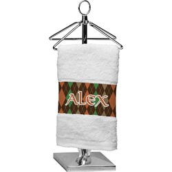 Brown Argyle Finger Tip Towel (Personalized)