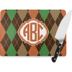 Brown Argyle Rectangular Glass Cutting Board (Personalized)