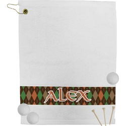 Brown Argyle Golf Towel (Personalized)