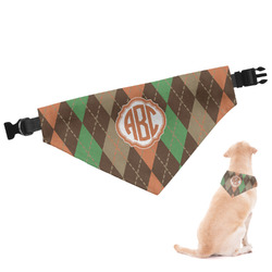 Brown Argyle Dog Bandana (Personalized)