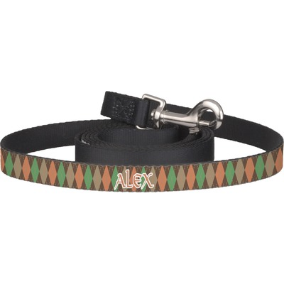 Brown Argyle Dog Leash (Personalized)