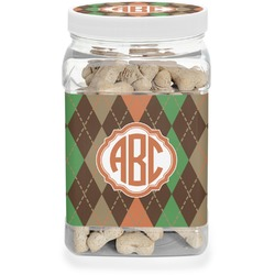 Brown Argyle Dog Treat Jar (Personalized)