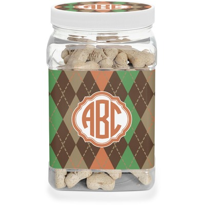 Brown Argyle Dog Treat Jar (Personalized)