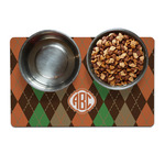 Brown Argyle Dog Food Mat (Personalized)