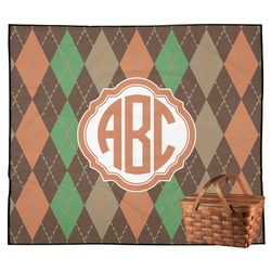 Brown Argyle Outdoor Picnic Blanket (Personalized)
