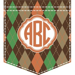 Brown Argyle Iron On Faux Pocket (Personalized)