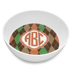 Brown Argyle Melamine Bowl 8oz (Personalized)