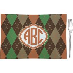 Brown Argyle Glass Rectangular Appetizer / Dessert Plate - Single or Set (Personalized)