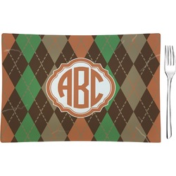 Brown Argyle Glass Rectangular Appetizer / Dessert Plate (Personalized)