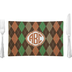 Brown Argyle Glass Rectangular Lunch / Dinner Plate - Single or Set (Personalized)