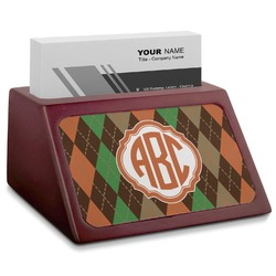 Brown Argyle Red Mahogany Business Card Holder (Personalized)
