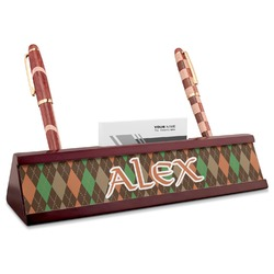 Brown Argyle Red Mahogany Nameplate with Business Card Holder (Personalized)