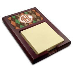 Brown Argyle Red Mahogany Sticky Note Holder (Personalized)
