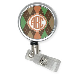 Brown Argyle Retractable Badge Reel (Personalized)