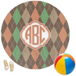 Brown Argyle Round Beach Towel (Personalized)