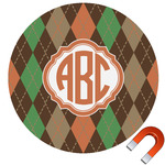 Brown Argyle Round Car Magnet (Personalized)