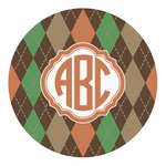 Brown Argyle Round Decal (Personalized)