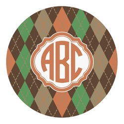 Brown Argyle Round Decal - Custom Size (Personalized)