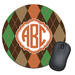 Brown Argyle Round Mouse Pad (Personalized)