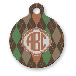 Brown Argyle Round Pet Tag (Personalized)