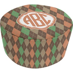 Brown Argyle Round Pouf Ottoman (Personalized)