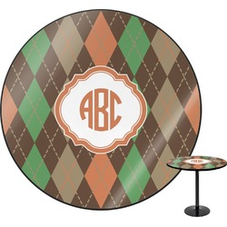 Brown Argyle Round Table (Personalized)