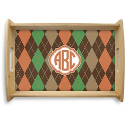Brown Argyle Natural Wooden Tray (Personalized)