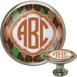 Brown Argyle Cabinet Knob (Silver) (Personalized)