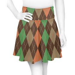 Brown Argyle Skater Skirt (Personalized)