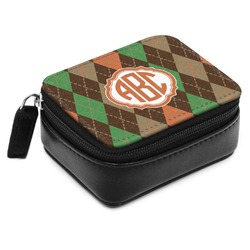 Brown Argyle Small Leatherette Travel Pill Case (Personalized)