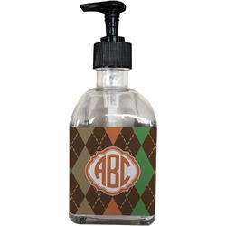 Brown Argyle Soap/Lotion Dispenser (Glass) (Personalized)