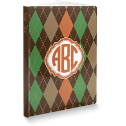 """Brown Argyle Softbound Notebook - 5.75"""" x 8"""" (Personalized)"""