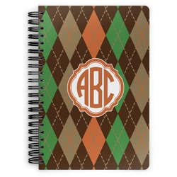 Brown Argyle Spiral Notebook (Personalized)