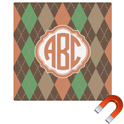 Brown Argyle Square Car Magnet (Personalized)