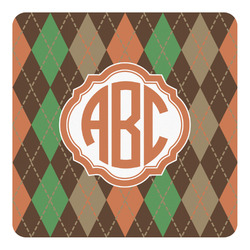 Brown Argyle Square Decal - Custom Size (Personalized)