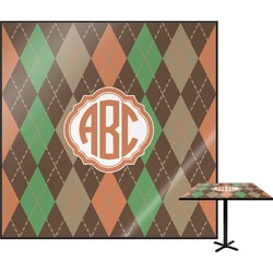 "Brown Argyle Square Table Top - 30"" (Personalized)"