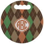 Brown Argyle Stadium Cushion (Round) (Personalized)