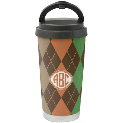 Brown Argyle Stainless Steel Coffee Tumbler (Personalized)