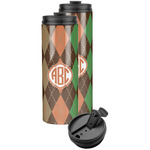 Brown Argyle Stainless Steel Skinny Tumbler (Personalized)