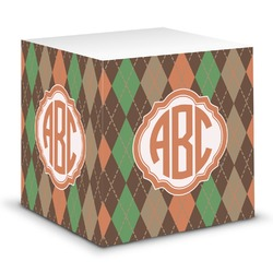 Brown Argyle Sticky Note Cube (Personalized)
