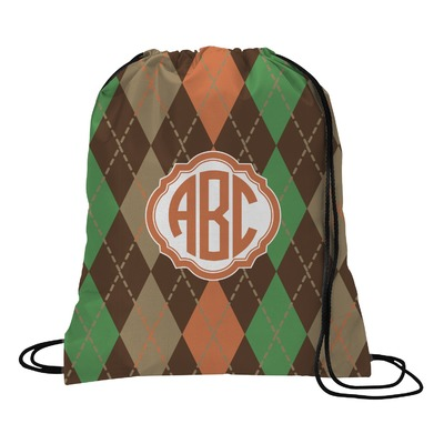 Brown Argyle Drawstring Backpack (Personalized)