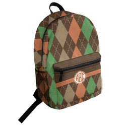 Brown Argyle Student Backpack (Personalized)