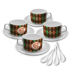 Brown Argyle Tea Cup - Set of 4 (Personalized)