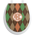 Brown Argyle Toilet Seat Decal (Personalized)