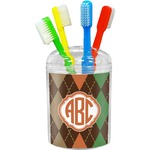 Brown Argyle Toothbrush Holder (Personalized)