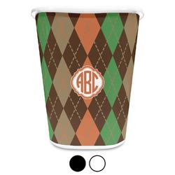 Brown Argyle Waste Basket (Personalized)